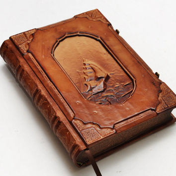 Handmade leather journal, Vintage look, Ship of life, 9.5x6.5inch (24x16.5cm) , in gift box.