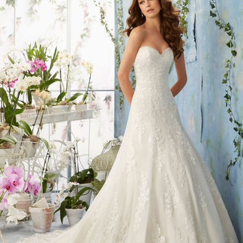 Embroidered Lace Appliques on Net with Scalloped Hemline over Soft Satin Morilee Bridal Wedding Dress | Style 5404 | Morilee