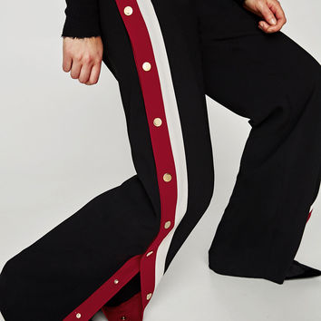 PYJAMA-STYLE TROUSERS WITH SIDE STRIPES
