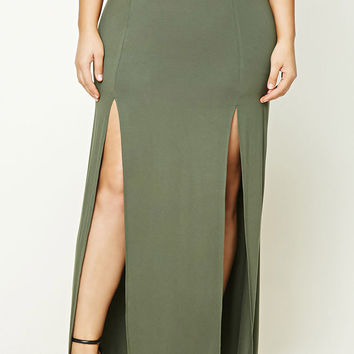 Plus Size M-Slit Maxi Skirt