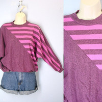 Vintage 80s Slouchy Top, Striped Shirt, 1980s Dolman Knit Shirt, Pink 80s Blouse, Soft Sweatshirt, Retro Abstract Shirt, Mod Top