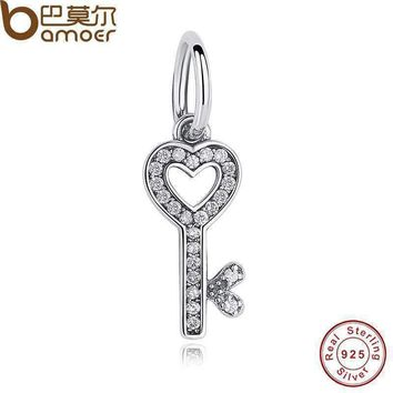 Authentic 925 Sterling Silver Symbol Of Trust LOVE Heart Key Pendant Charm fit original Bracelets Jewelry Accessory PAS165