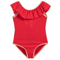 Chloe Girls Red Ruffled Swimsuit