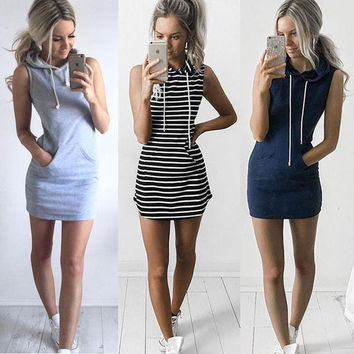 Fashion Stripe Print Hooded Short Sleeve Bodycon Mini Dress