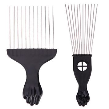 Black Metal African American Pick Comb for Natural  Afro Hair