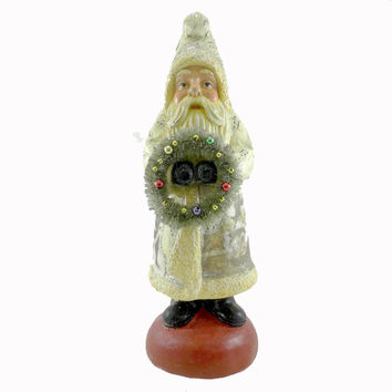 Christmas Santa With Decorated Wreath Christmas Figurine