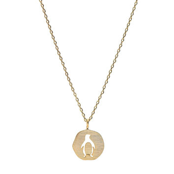Handmade Tiny Jewel Brushed Metal Penguin Medal Necklace