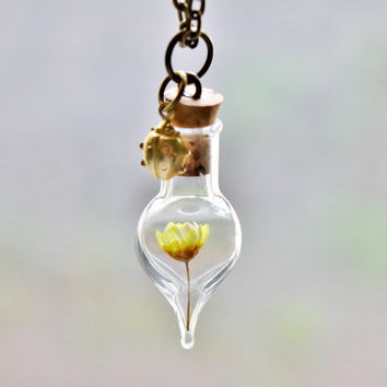 Purple Flower And Moss Terrarium Necklace From Teenytinyplanet On