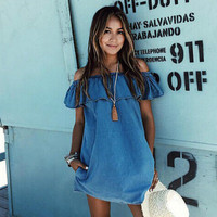 Women Sexy Summer Loose Off The Shoulder Beach Dress Casual Sleeveless Evening Party Slash Neck Short Mini Jean Dress Blue