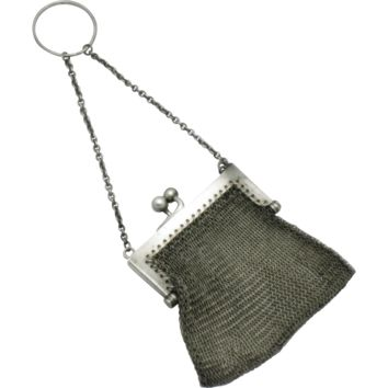 LOUIS STERN Victorian Chatelaine Sterling Silver Mesh Coin Purse