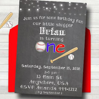 Baseball Birthday Invitation - Boys First Birthday Invitation - PRINTABLE - Sports Birthday Invitation - Chalkboard Boys Birthday Invitation