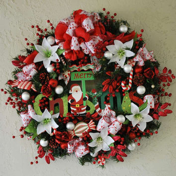 Christmas Wreath - Merry Christmas Santa.  Red and White Candy Cane Wreath.  Santa Holiday Wreath