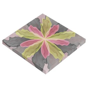 Joy, Pink Green Anthracite Fantasy Flower Fractal Gallery Wrap