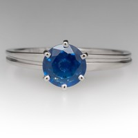 1 Carat Icy Blue Sapphire 6-Prong Solitaire Ring 14K