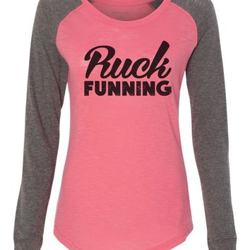 "Womens ""Ruck Funning"" Long Sleeve Elbow Patch Contrast Shirt"