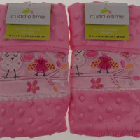 Set 2 Cuddle Time Baby Security Blanket Pink Birds Flower Butterfly Soft Fuzzy