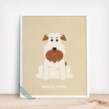 Wheaten Terrier Print, Wheaten Terrier Poster, Dog Print, Dog Breed, Wheaten, Wheatie, Wall Art, Dog Art, Dog Poster, Fathers Day Gift