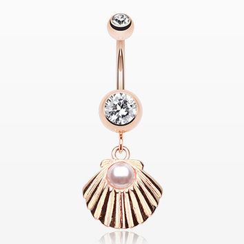 Rose Gold Ariel's Shell Dangle Belly Button Ring