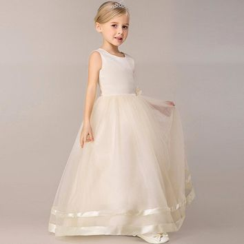 Girl Flower Dress Kids Party Wear Sleeveless Clothing Girl Wedding Dresses Ball Prom First Communion Dresses for Girls