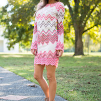 Fall Into Chevron Dress, Pink