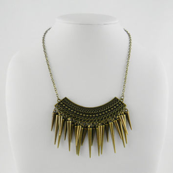 Statement Necklace Tribal Gold Spike Clusters on Crescent Chest Plate Antique Gold Tone Necklace