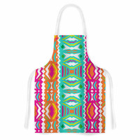 "Miranda Mol ""Ethnic Summer"" Green Orange Artistic Apron"