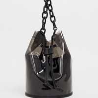 Bershka Plastic chain handle bag in black at asos.com