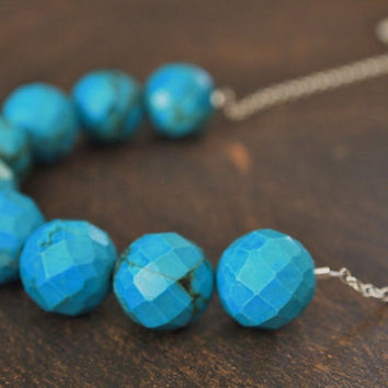 Large Faceted Blue Turquoise Necklace Long by FleurDesignsJewelry