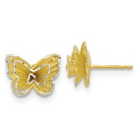 Sterling Silver Gold-tone Butterfly Earrings