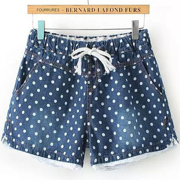 Faded Blue Polka Dots Drawstring White Lace Trim Denim Shorts