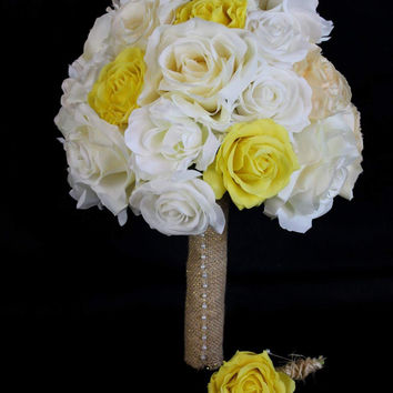 A Rustic yellow, cream and Ivory Rose Wedding Bouquet Collection