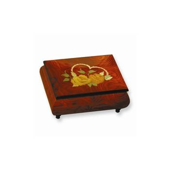 Red and Brown Floral & Heart Inlay Music Box