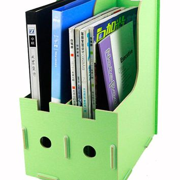 Menu Life Magazine Storage Box Expander File Folder Organiser Magazine File Holder Rack Paper Book Storage Office Desk Organizer (Light Green)