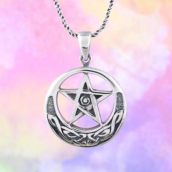 Pentacle with Upturned Celtic Moon Necklace