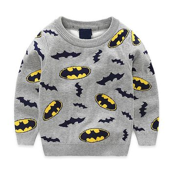 Winter Boys Outerwear Sweater Cotton Cartoon Sweater For Boys New Year Fashion Warm Print Knitted Pullover Children Clothing