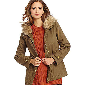 Gianni Bini Piper Faux-Fur-Hood Jacket - Olive