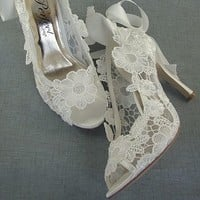 Lace Peep Toe Wedding Shoes