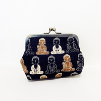 Clutch Metal Snap Pouch Coin Purse  Pouch Buddahs on Navy