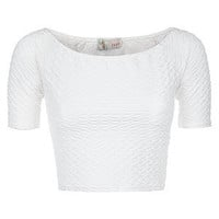 Cameo Rose White Textured Crop Top
