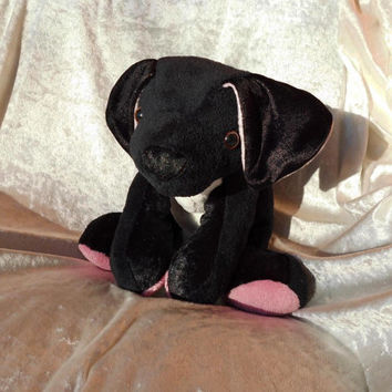 BOXER Labrador Great Dane Terrier- SOFT Plush stuffed Toy Dog Cuddly Puppy Animal - black and white - Handmade OOAK