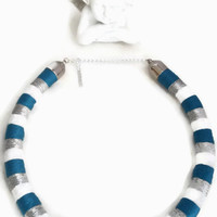 Navy necklace/statement necklace/wrapped rope/african necklace /tribal necklace/ bohemian/multicolor/ethnic necklace