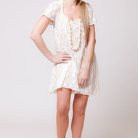 White Lace tunic dress, women tunic dress, Lace blouse short sleeve, autumn - summer - spring   sizes : XS / S / M / L / XL