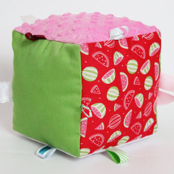 Sensory Cube, Taggie, Watermelon Scented Toy, Pink, Green, White, Melon, Cats, Textured plush, Minky, Ribbons, Educative, Cute baby gift
