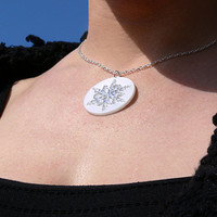 Water crystal necklace. Laser cut necklace. Acrylic necklace. Silvery white necklace.