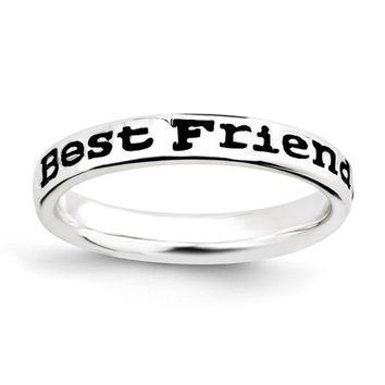 Sterling Silver Stackable Expressions Enameled Best Friends Ring