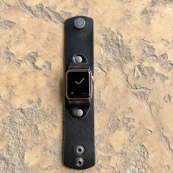 Smooth Buffalo Lux Leather Watch Band in Black w/ Studs