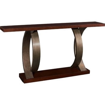 Powell Miles Console w/ Dark Walnut Finish on Metallic Gunmetal Bent Wood Legs