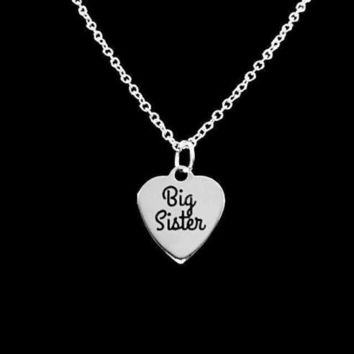 Big Sister Heart Sisters Gift Charm Christmas Gift Necklace