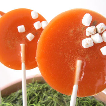Pumpkin Spice Marshmallow Latte Gourmet Lollipops - Pick Your Size- Autumn Hostess Gift - Fall Party Favors
