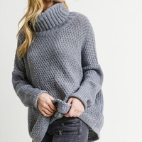 Knit Cowl Neck Pullover - Grey